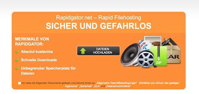 Rapidgator Vorschau der Webseite